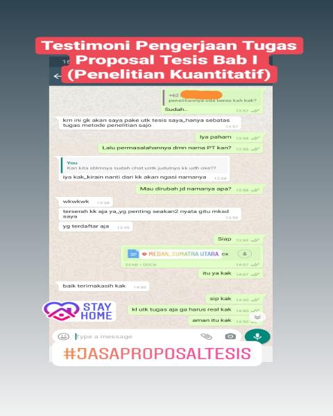 chat24-Testimoni Pengerjaan Tugas Proposal Tesis Bab I Penelitian Kuantitatif (Universitas di Medan, Sumatera Utara)