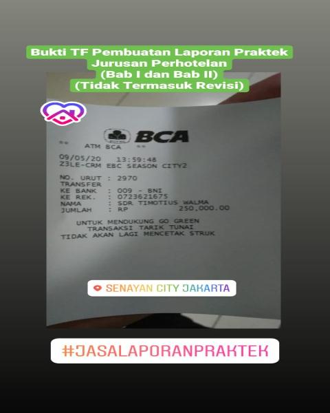 tf17-Bukti Pembayaran Jasa Pengerjaan Laporan Praktek Jurusan Perhotelan (Universitas di Jakarta)