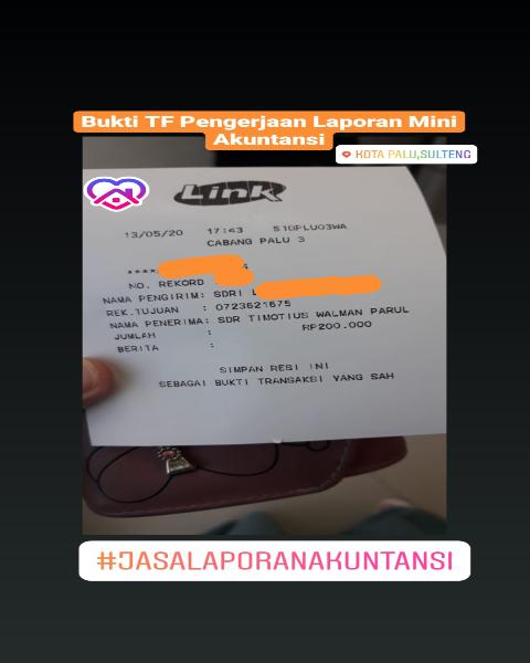 tf18-Bukti Pembayaran Jasa Pengerjaan Tugas Kuliah Laporan Mini Akuntansi (Universitas di Palu, Sulawesi Tengah)