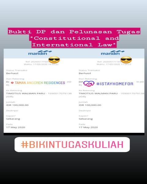 tf21-Bukti Pembayaran Jasa Pengerjaan Tugas Kuliah Mengenai Constutional and International Law (Universitas di Jakarta Barat)