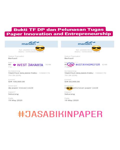 tf22-Bukti Pembayaran Jasa Pembuatan Paper Mengenai Innovation and Entrepreneurship (Universitas di Jakarta Barat)