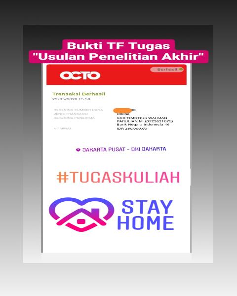 tf24-Bukti Pembayaran Jasa Pengerjaan Tugas Mengenai Usulan Penelitian Akhir (Universitas di Jakarta Pusat)