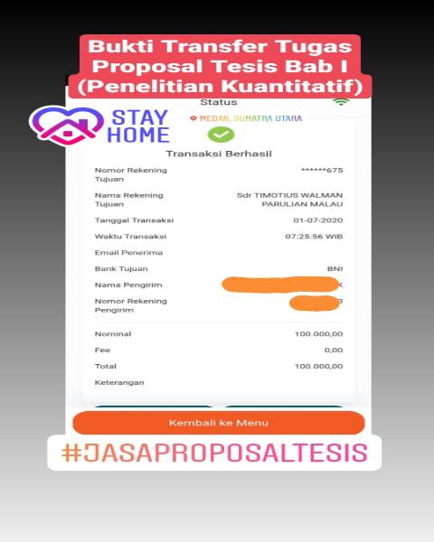 tf31-Bukti Pembayaran Jasa Pengerjaan Tugas Proposal Tesis Bab I Penelitian Kuantitatif (Universitas di Medan, Sumatera Utara)